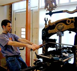 Operating the Columbian at the Havilah Press